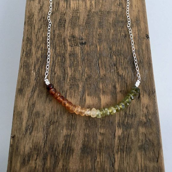 Ombré Garnet necklace red and green Grossular Garnet and