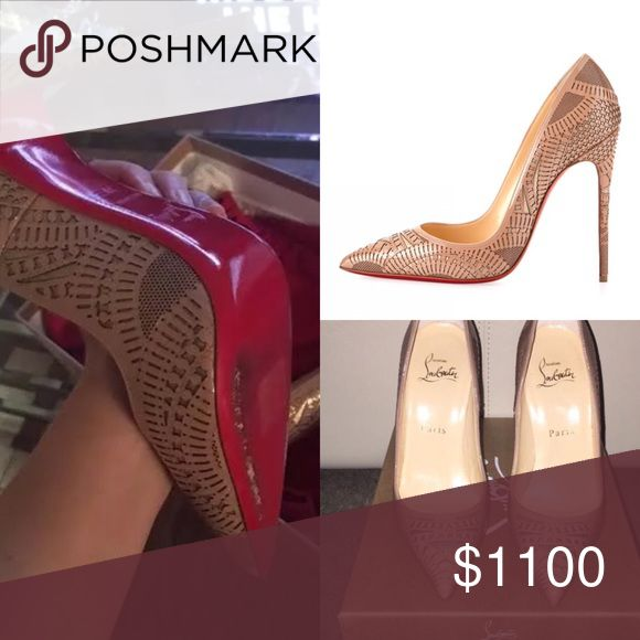 😍Kristali Louboutin Laser Cut EU39/US8.5 👉SPLIT PAYMENT ELIGIBLE👈🏻This Pump Is AMAZING•Kristali Laser cutout embroidery detail pump •120mm heel •Like NEW PREOWNED CONDITION Meaning they were worn literally once and are in PRISTINE CONDITION no marks to the exterior & insoles are intact•EU39/US 8.5 •Retail for $1500 •SOLD OUT EVERYWHERE •Seen on ALL the celebrities! •Only selling due to wrong size otherwise would be keeping these!!! •Only reasonable offers will be considered• emails…