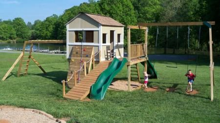 This is the perfect playhouse for the boys.  I love the ramp, slide, and climbing wall.  Instead of a house, maybe more of a fort that air will flow through better since it gets so hot here.