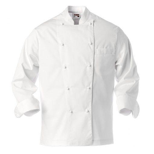 Chaquetilla blanca de cocina de botones combinables de bola (blancos o negros) y de cruce ancho. Tiene un bolsillo de pecho cortado. La espalda confeccionada a dos piezas.   #chaquetas #chef #cocina #blanca #botones #cocinero #uniformes #uniforme