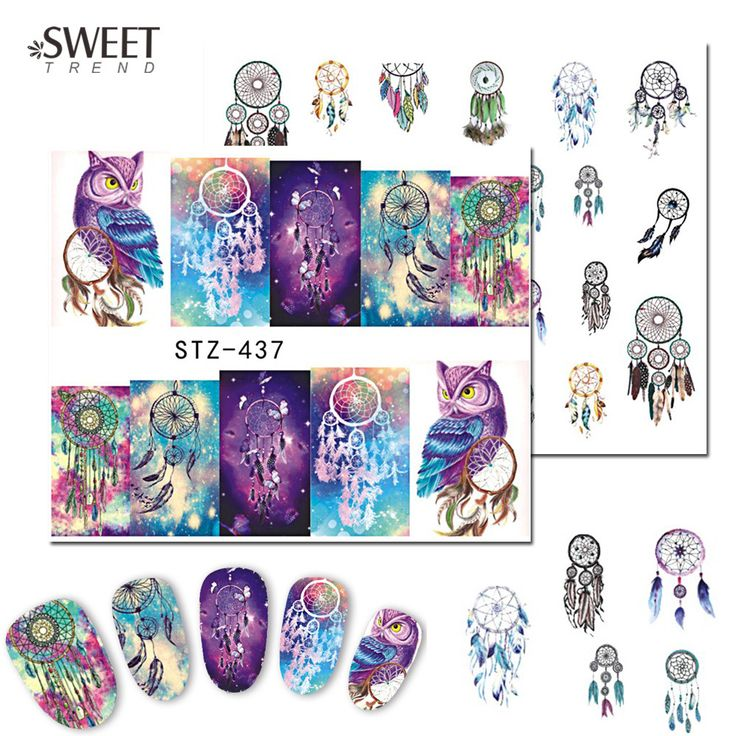 Buy 1Sheet Cartoon Owl Nail Art Stickers Beauty Full Wraps Water Transfer Designs Cute Nail Tips Decals DIY Accessories STZ437-438 at JacLauren.com