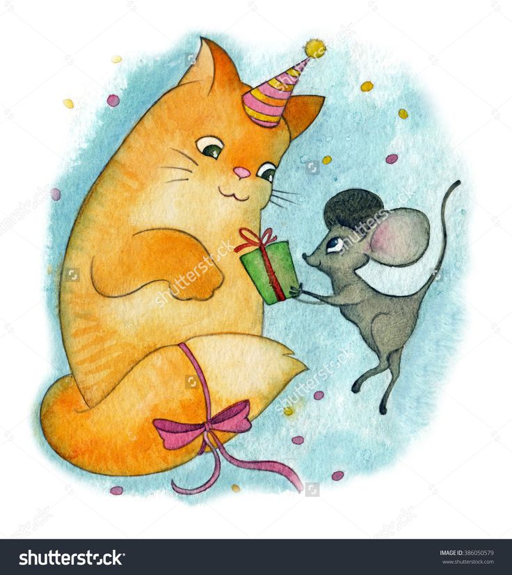 Happy Birthday - Hand-Drawn Watercolor Illustration Of Cat & Mouse At Birthday Party - 386050579 : Shutterstock