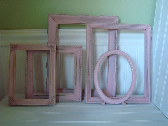 5 Shabby Cottage Pink Picture Frames Paris Chic by mushroommary