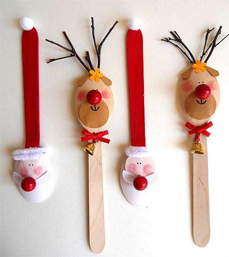 colher de pau rena de natal - Google Search