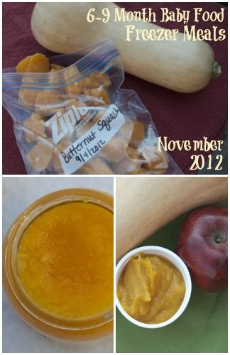 Freezer cooking menu for making baby food purees for your 6 - 9 month old.
