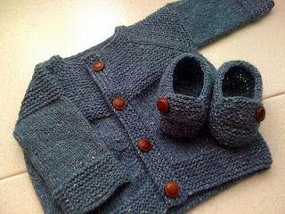 Copper Kettles and Woolen Mittens: Garter Yoke Baby Cardigan - patron en español English pattern in Ravelry
