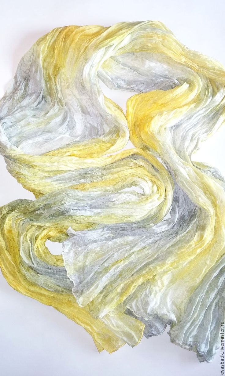 Купить Шарф шелковый Жёлто-серый - шарф батик, шелковый шарф, шелковый шарфик