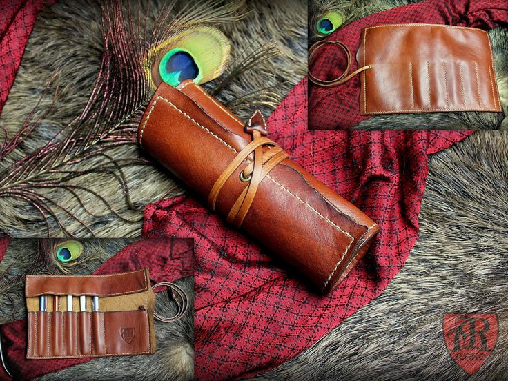 Leather pen roller. Pen case leather. Hand made from Pracownia REKO.