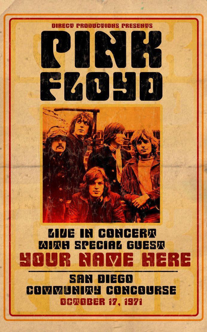 Pink Floyd,concert poster,San Diego 1971