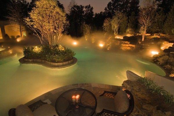 garden water feature lighting with mist
