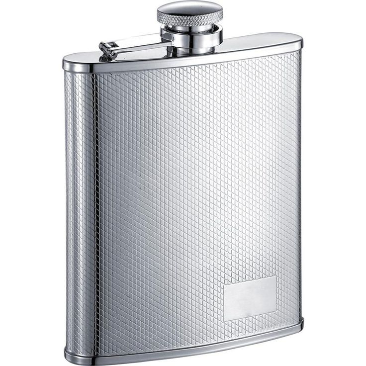 Visol Diagonal Edge Etched Pattern Stainless Steel (Silver) Liquor Flask - 6 ounces (Diagonal)