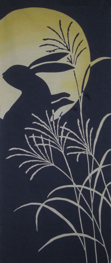 Rabbit, Moon and Bamboo Japanese Asian Fabric Panel Tenugui.