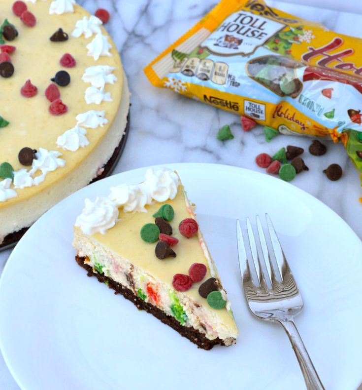This Chocolate Chip Cheesecake with a Brownie Crust takes a little bit of patience and easily turns into a wonderfully impressive dessert that will have your friends and family begging you for the recipe. #BakeHolidayGoodness AD
