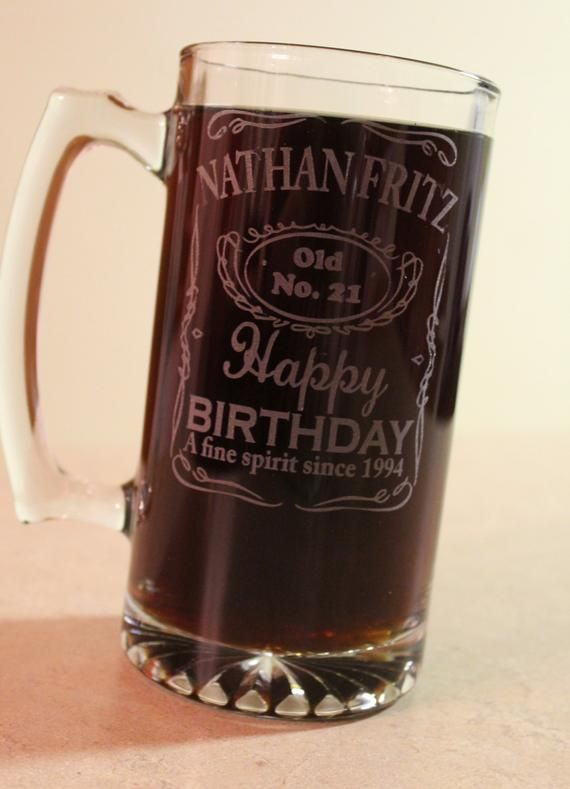 Aged to Perfection Engraved Etched Personalized Glass Beer Mug 15 oz Party Favors Beer Mug Gift DM882ZI-BM15OZ