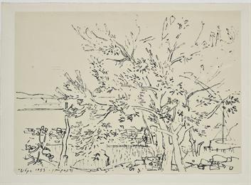 [Φιλική Εκτύπωση]      Μόραλης Γιάννης (1916 - 2009)     ΄Υδρα, 1953     Μελάνι σε χαρτί , 21,5 x 28,5 εκ.     Δωρεά του καλλιτέχνη , Αρ. έργου: Π.7970/1 ΄Υδρα