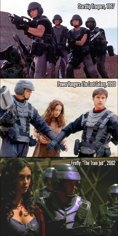 Recycled costumes: Starship Troopers, Power Ranges, Firefly