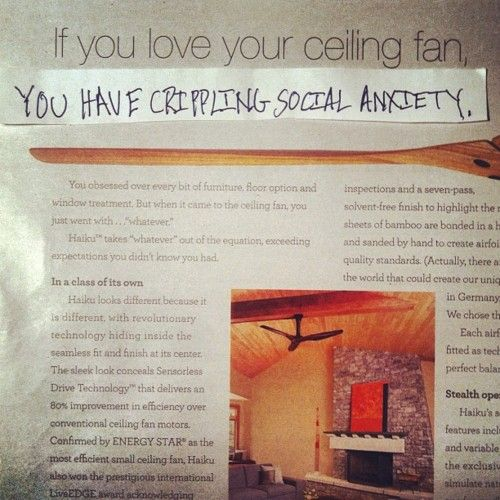 pessimistically rewriting overly positive corporate ad copy.: Copywriter Alters, Alters Ads, Copywriter Blog, Better Headline, Ceiling Fans, Ad Copy, Depressedcopywriter Com, Considers Ceiling