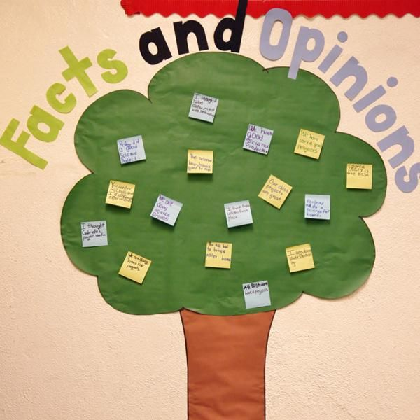 """Understanding & Instruction. Teachers should be explicit about facts and opinions because the difference may not be understood by students. Using """"a tree can help children visualize and organize information"""" (CTW, p. 131)."""