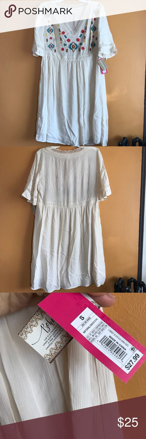 Brand new boho embroidered summer dress Brand new knee length embroidered Mexican style summer dress. Gauze crinkle soft fabric. Light and flowy. Bohemian boho chic look. Perfect for festival wear or the beach. Super cute with tan ankle boots. Cream, natural color. Mossimo Supply Co. Dresses