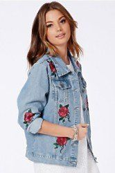 Rose #embroidered #denim #jacket #festival