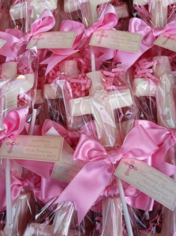 Chocolate Cross Lollipop Girl First Communion Favors