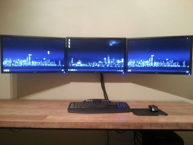 triple monitor wall mount computer office area monitor stand diy wall mounted desk wall mount. Black Bedroom Furniture Sets. Home Design Ideas