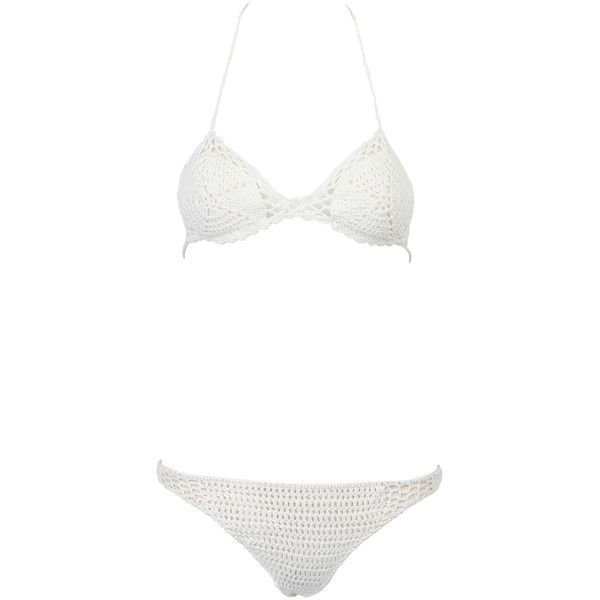 White Cut Out Crochet Triangle Bikini Top And Bottom ($20) ❤ liked on Polyvore featuring swimwear, bikinis, cutout bikini, tankini tops, crochet bikini top, white triangle bikini and triangle bikini top