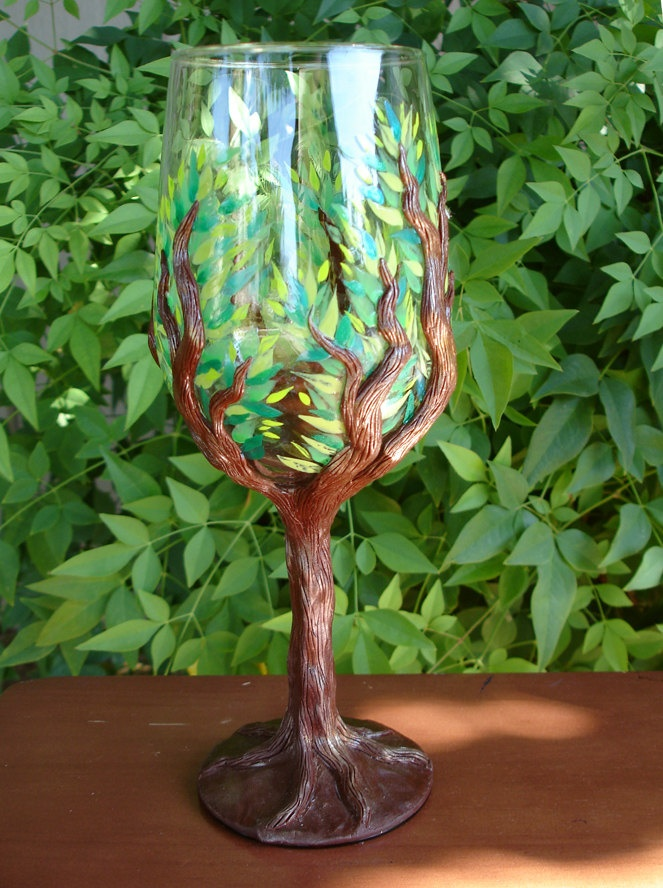 LOVE, LOVE these!!!! Tree Goblet: A Clear Goblet with adorned gnarled branches and painted leaves