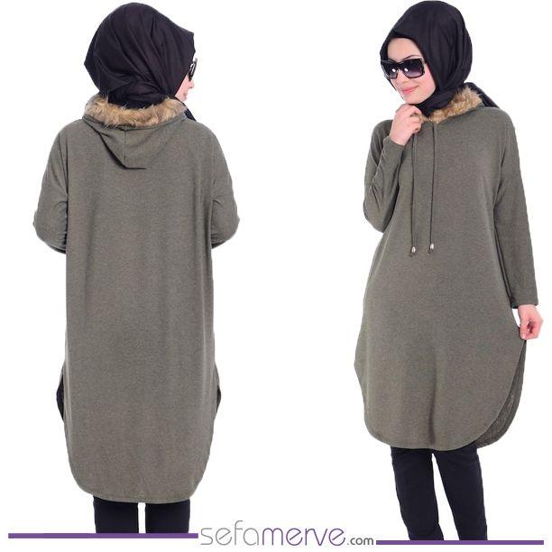 Tesettür Tunik AFL 0679-04 Haki Yeşil... 29.90 TL #sefamerve #tesetturgiyim #tesettur #hijab #tesettür