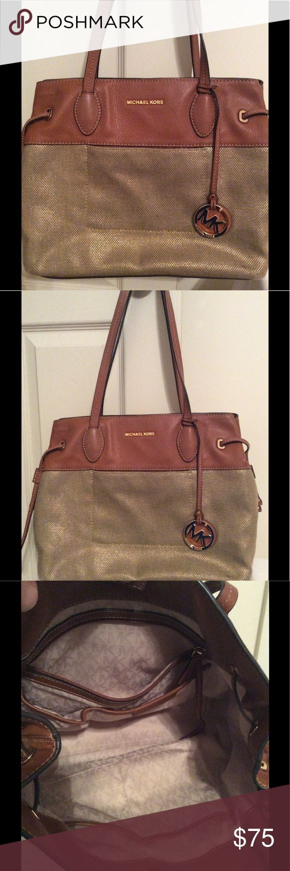 """Michael Kors Purse Michael Kors purse in great condition, camel color leather top and straps, gold woven fabric at lower portion, snap pocket at front, zipper pocket and 4 open pockets inside. Small stain shown above one of inside pockets shown in 4th picture.  Approx. 14""""X11"""". Michael Kors Bags"""