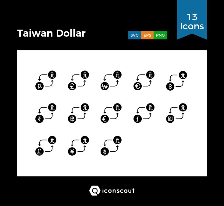 Taiwan Dollar  Icon Pack - 13 Solid Icons