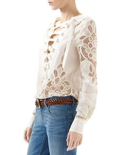 Broderie Anglaise Cotton Muslin Lace-Up Shirt & Washed Denim Skinny Flare Pant Sale