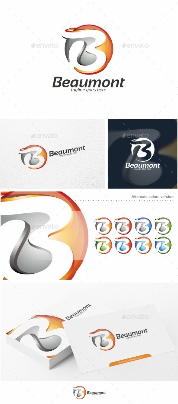 Logotype butterfly and letter b in different colour variants on a - Beaumont Abstract Letter B Logo Template