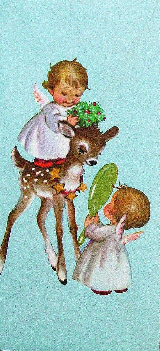 Adorable Vintage Christmas Card.  Christmas Angels.