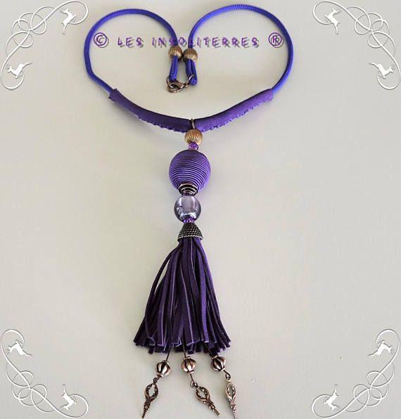 collier violet pompon cuir violet perle satin violet perle