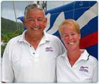 Sailing the British Virgin Islands with my family.  This was our Moorings staff: Peter & Bobbi, great people, a wonderful time, and a beautiful place!