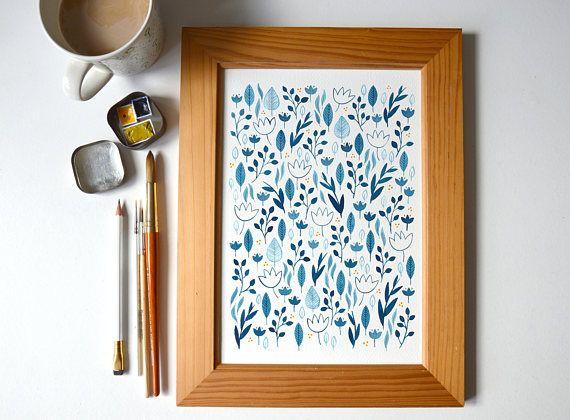 Blue pattern  A4 PRINT #folk #folkart #watercolour #painting #etsyuk #etsy