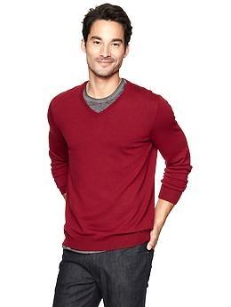 Merino V-neck sweater   Gap - red heather
