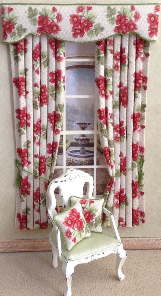 Superb 12th Deep Pink/red Green Dollhouse Curtains 4.75 X 7.5 Or Made To Your Size