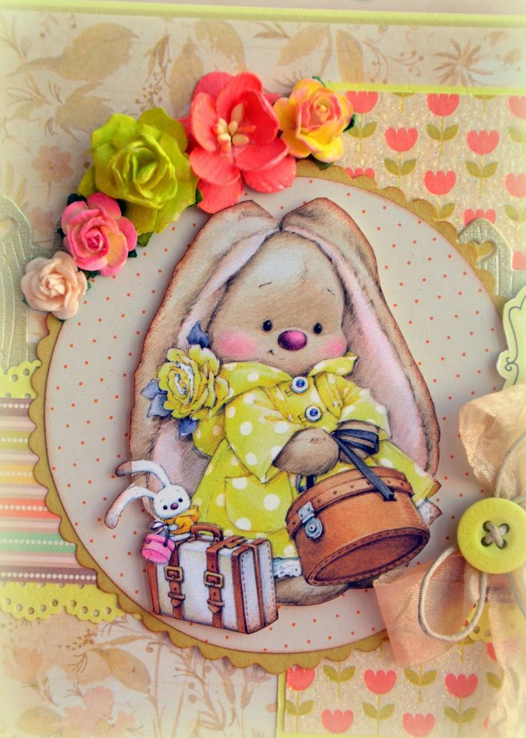 Скрапбукинг открытка зайка ми