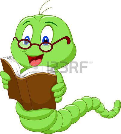 Libro de lectura del gusano de dibujos animados photo
