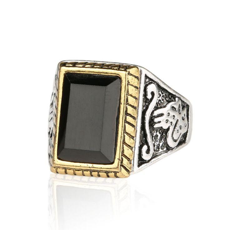 Винтажный стиль мужчин ювелирные изделия тибетских сплав серебра гальваника золото / серебро цвет горячая распродажа черные кольца для мужчин