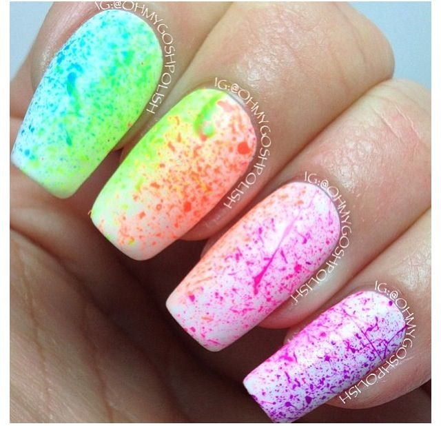 rainbow colored nails