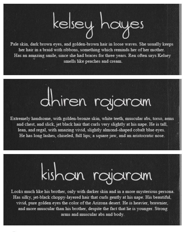 Character appearances: Kelsey Hayes, Ren, and Kishan