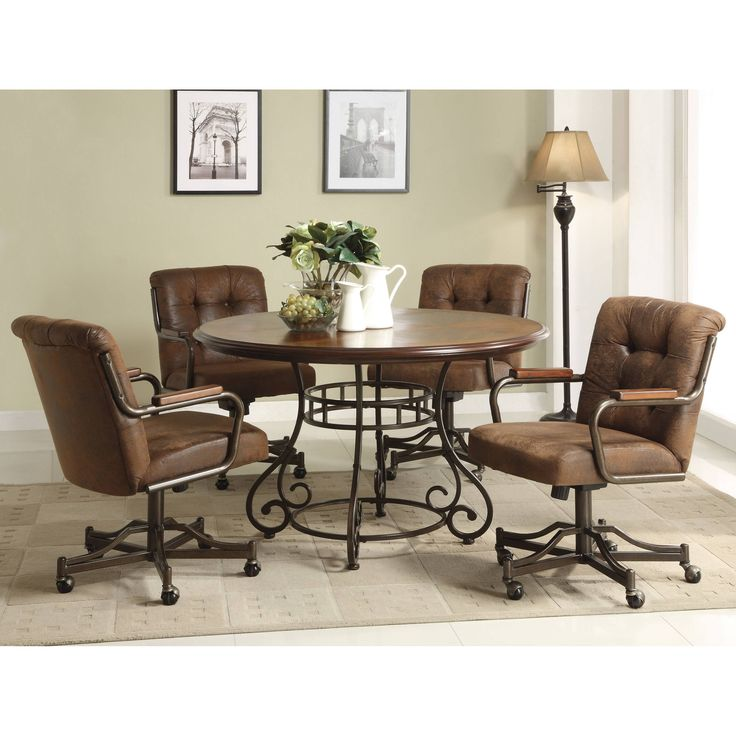 Kitchen Chairs With Casters: Anthony California 5 Pcs. Wood Dining Table And Caster