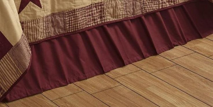 Bed Skirt Queen Size Solid Burgundy Olivias Heartland 60 x 80 x 16 inch #OliviasHeartland