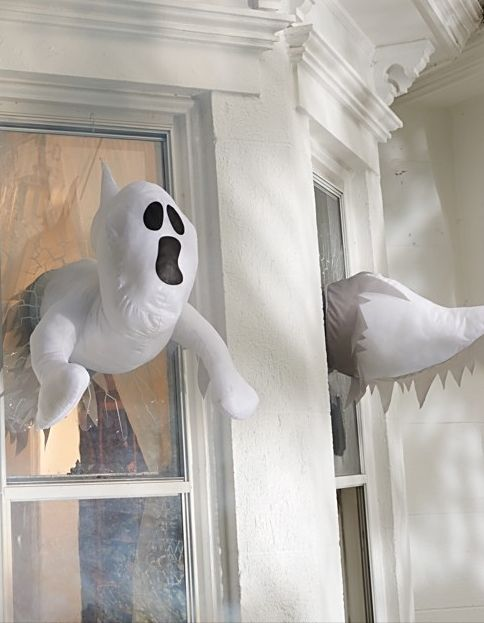 take your spooky dcor to a whole new dimension with window crasher ghosts that appear - Halloween Ghost Decorations Outside
