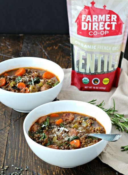 Lentil Soup with Sausage and Greens — nutritious, easy, and prefect to make ahead for meals all week!