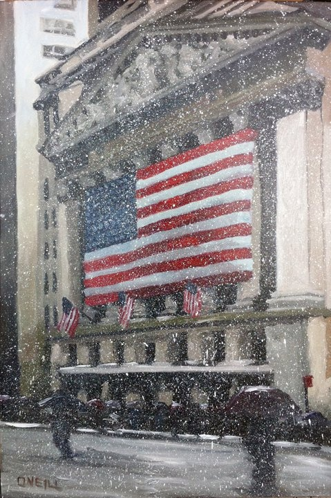 The Stock Exchange on a snowy day by Peter O'Neill
