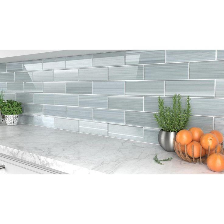 Bodesi heron gray 4 in x 12 in glass tile for kitchen
